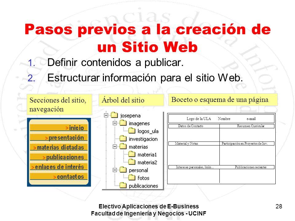 Electivo Aplicaciones de E-Business Facultad de Ingeniería y Negocios - UCINF 28 1. Definir contenidos a publicar. 2. Estructurar información para el