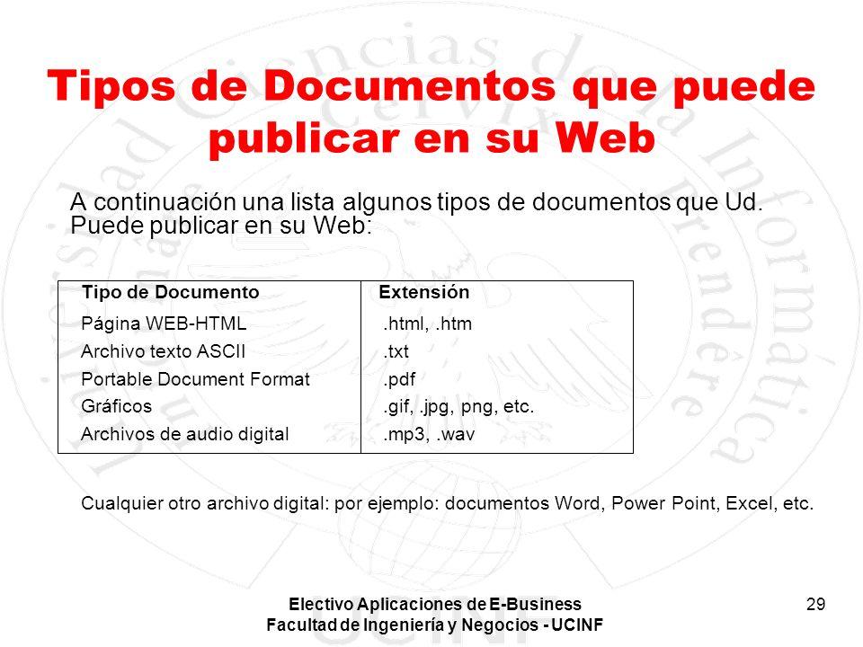 Electivo Aplicaciones de E-Business Facultad de Ingeniería y Negocios - UCINF 29 Tipos de Documentos que puede publicar en su Web A continuación una l
