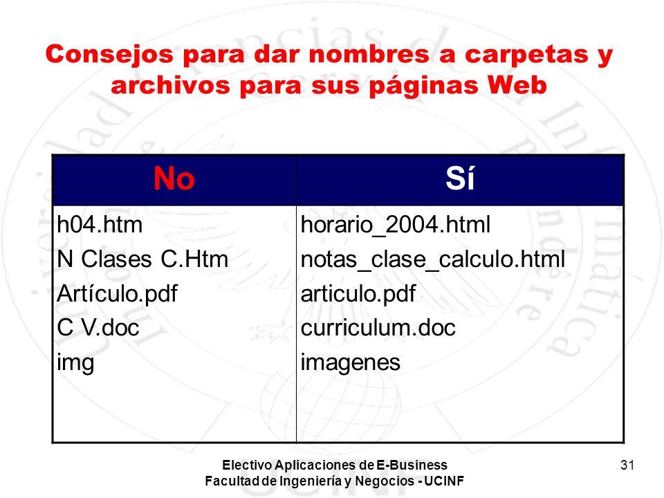 Electivo Aplicaciones de E-Business Facultad de Ingeniería y Negocios - UCINF 31 Consejos para dar nombres a carpetas y archivos para sus páginas Web