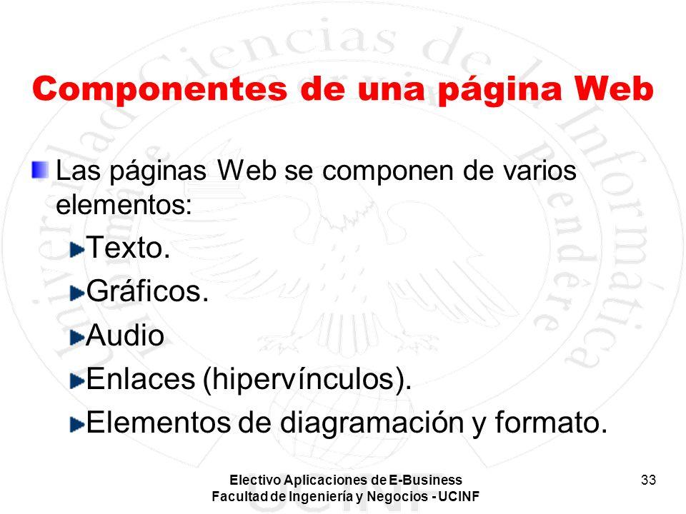 Electivo Aplicaciones de E-Business Facultad de Ingeniería y Negocios - UCINF 33 Componentes de una página Web Las páginas Web se componen de varios e