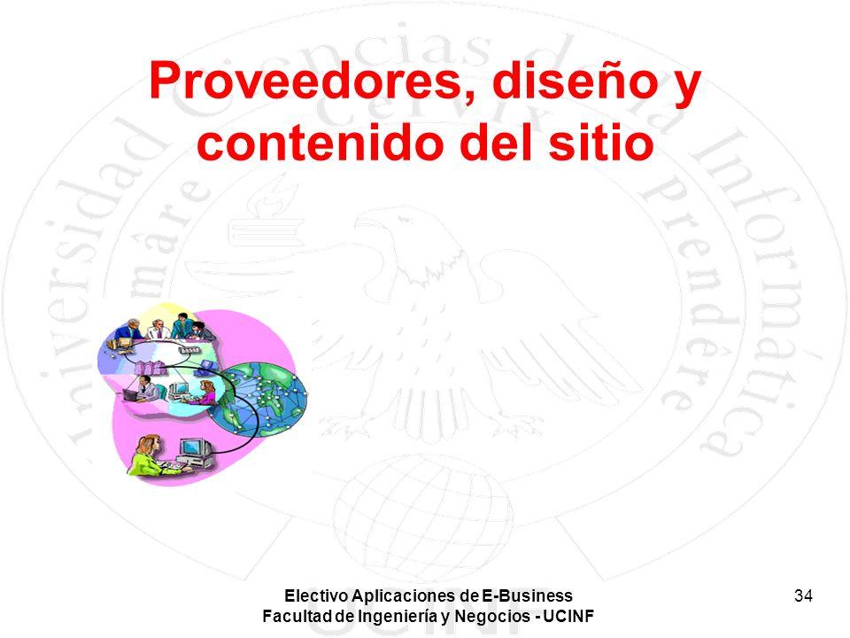 Electivo Aplicaciones de E-Business Facultad de Ingeniería y Negocios - UCINF 34 Proveedores, diseño y contenido del sitio