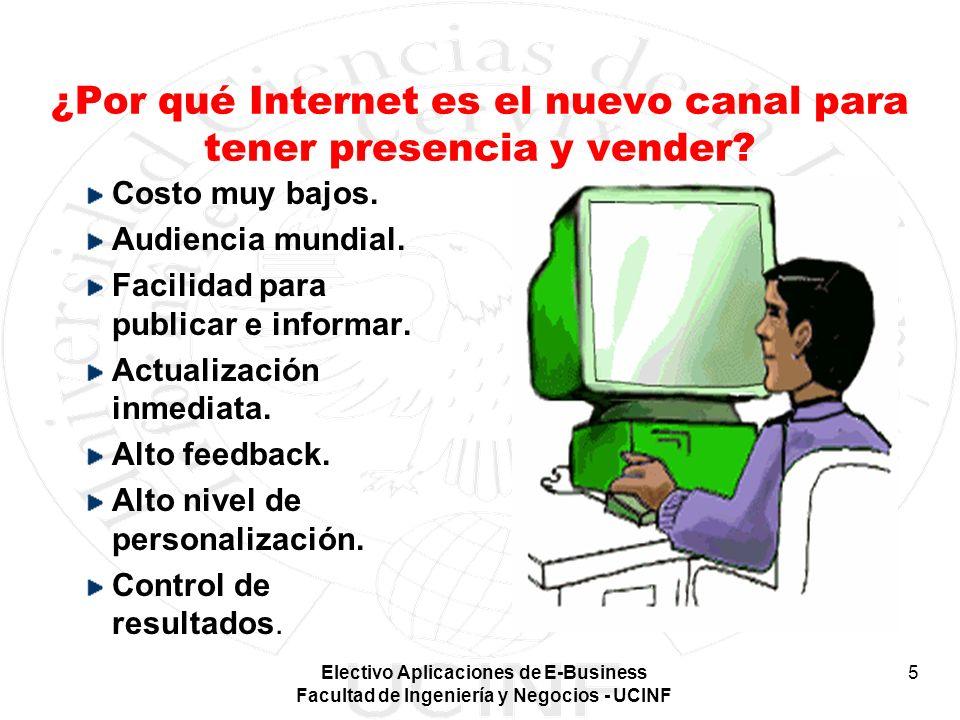 Electivo Aplicaciones de E-Business Facultad de Ingeniería y Negocios - UCINF 5 ¿Por qué Internet es el nuevo canal para tener presencia y vender? Cos