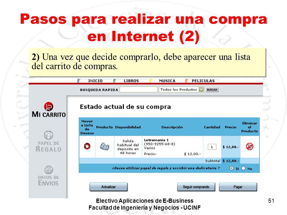 Electivo Aplicaciones de E-Business Facultad de Ingeniería y Negocios - UCINF 51 Pasos para realizar una compra en Internet (2) 2) Una vez que decide