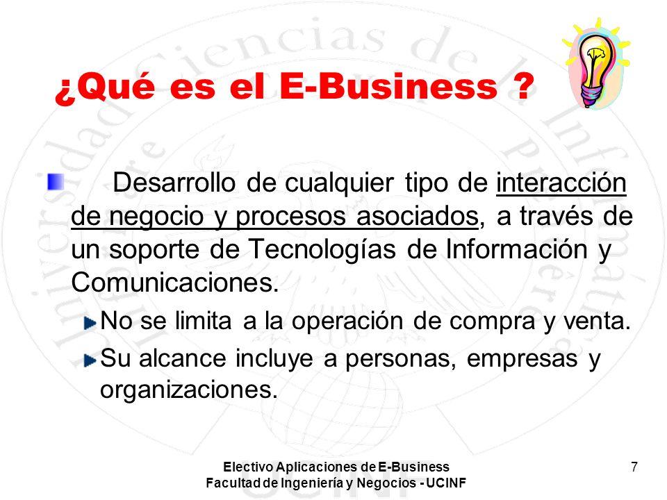 Electivo Aplicaciones de E-Business Facultad de Ingeniería y Negocios - UCINF 7 ¿Qué es el E-Business ? Desarrollo de cualquier tipo de interacción de