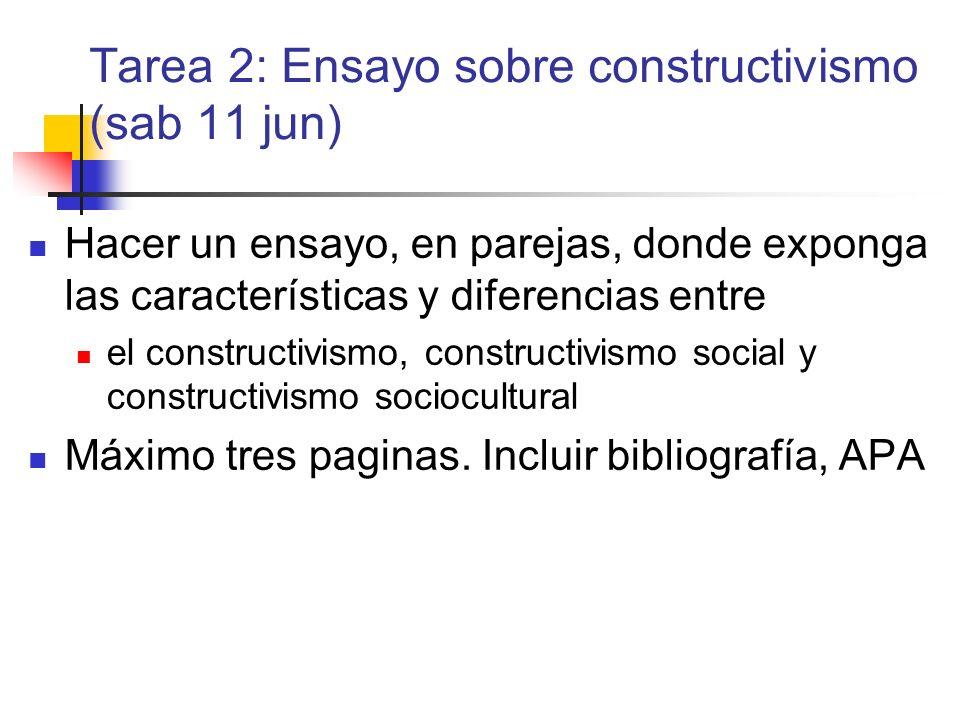 Tarea 2: Ensayo sobre constructivismo (sab 11 jun) Hacer un ensayo, en parejas, donde exponga las características y diferencias entre el constructivis