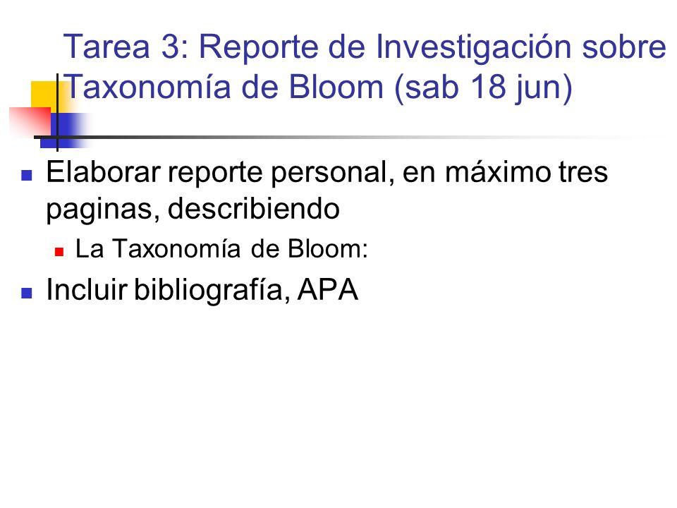 Tarea 3: Reporte de Investigación sobre Taxonomía de Bloom (sab 18 jun) Elaborar reporte personal, en máximo tres paginas, describiendo La Taxonomía d