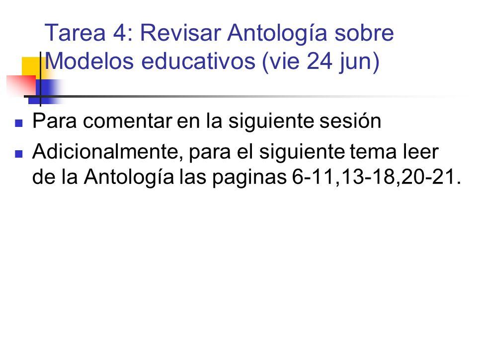 Tarea 4: Revisar Antología sobre Modelos educativos (vie 24 jun) Para comentar en la siguiente sesión Adicionalmente, para el siguiente tema leer de l
