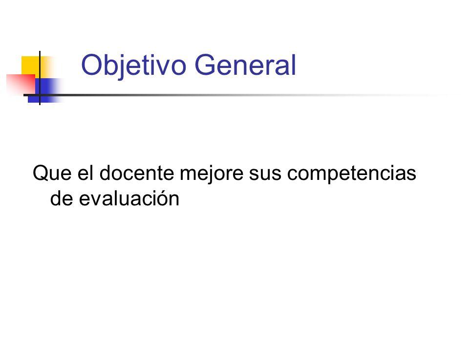 Objetivo General Que el docente mejore sus competencias de evaluación