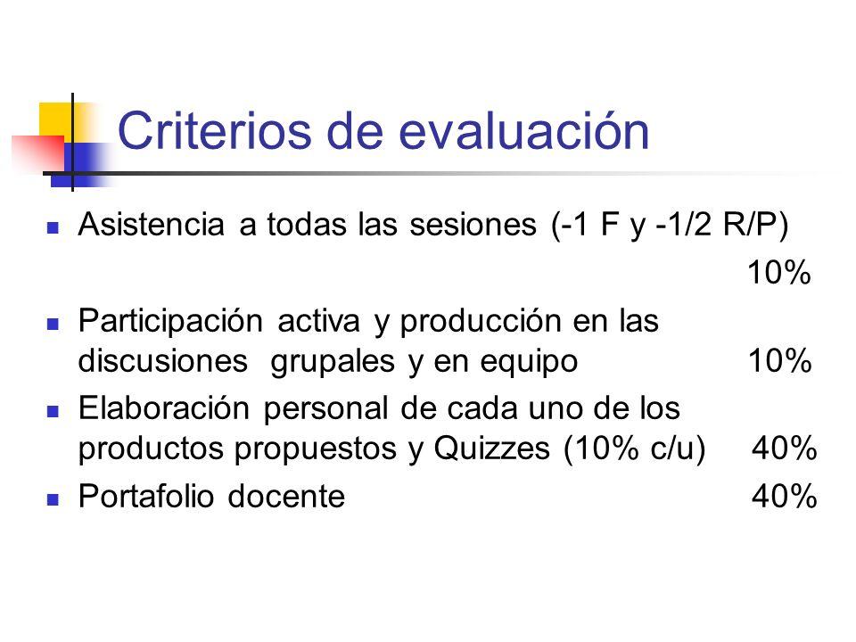 Criterios de evaluación Asistencia a todas las sesiones (-1 F y -1/2 R/P) 10% Participación activa y producción en las discusiones grupales y en equip