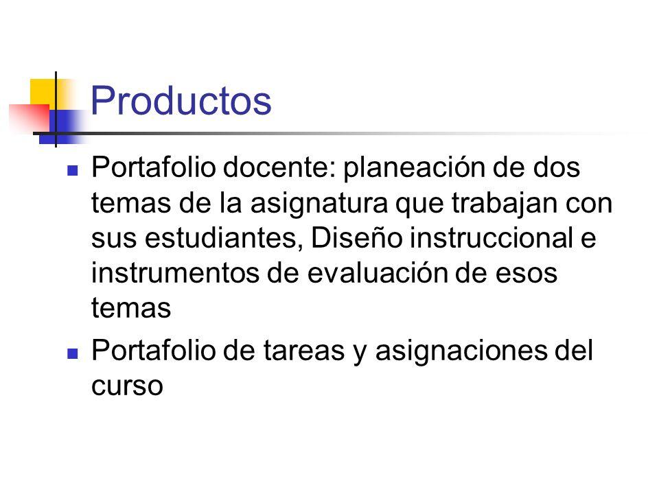 Productos Portafolio docente: planeación de dos temas de la asignatura que trabajan con sus estudiantes, Diseño instruccional e instrumentos de evalua