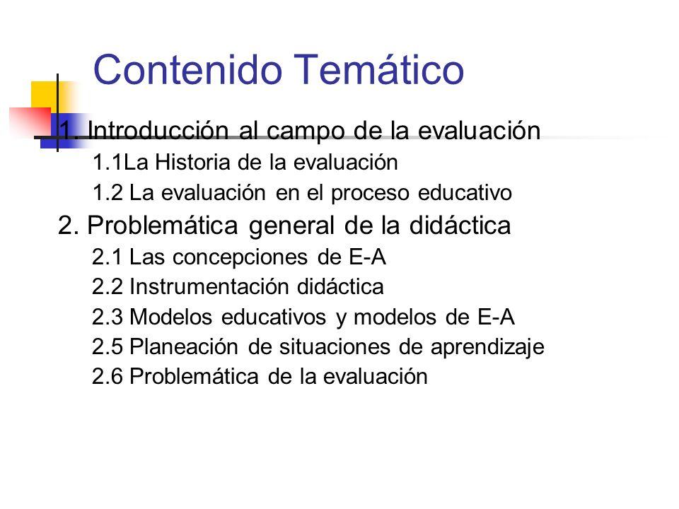 Contenido Temático 1. Introducción al campo de la evaluación 1.1La Historia de la evaluación 1.2 La evaluación en el proceso educativo 2. Problemática