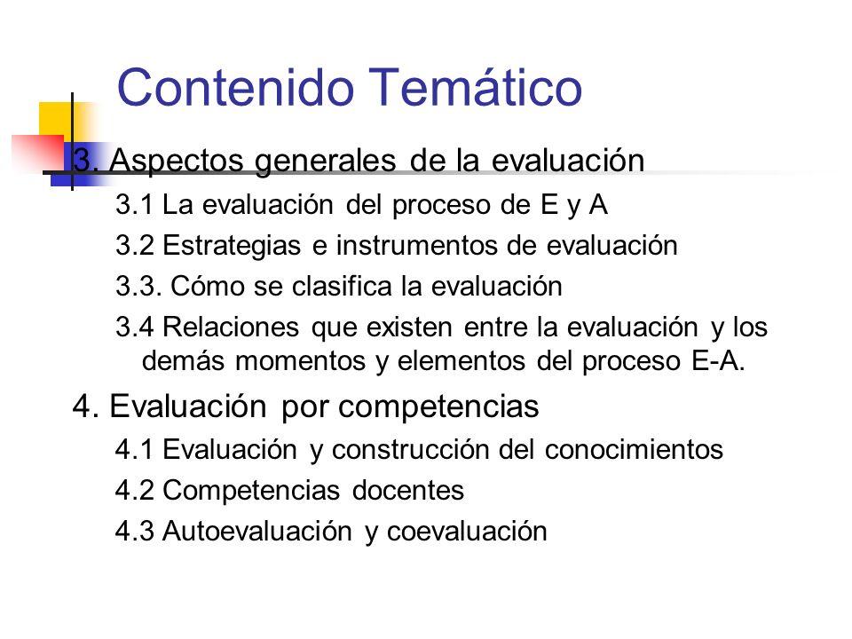 Contenido Temático 3. Aspectos generales de la evaluación 3.1 La evaluación del proceso de E y A 3.2 Estrategias e instrumentos de evaluación 3.3. Cóm