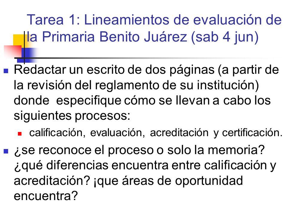 Tarea 1: Lineamientos de evaluación de la Primaria Benito Juárez (sab 4 jun) Redactar un escrito de dos páginas (a partir de la revisión del reglament