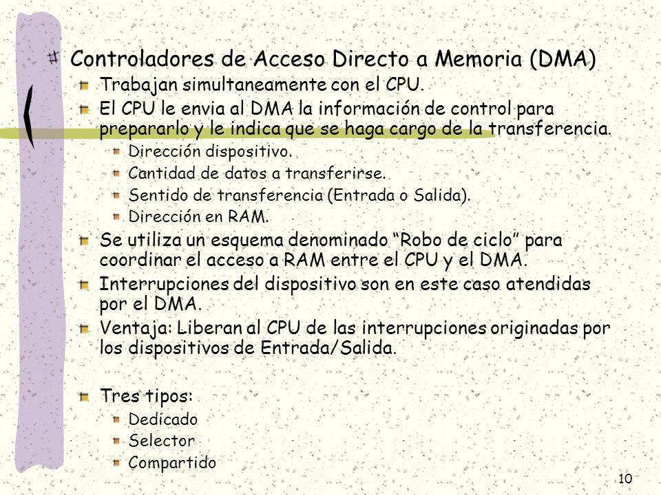 10 Controladores de Acceso Directo a Memoria (DMA) Trabajan simultaneamente con el CPU. El CPU le envia al DMA la información de control para preparar