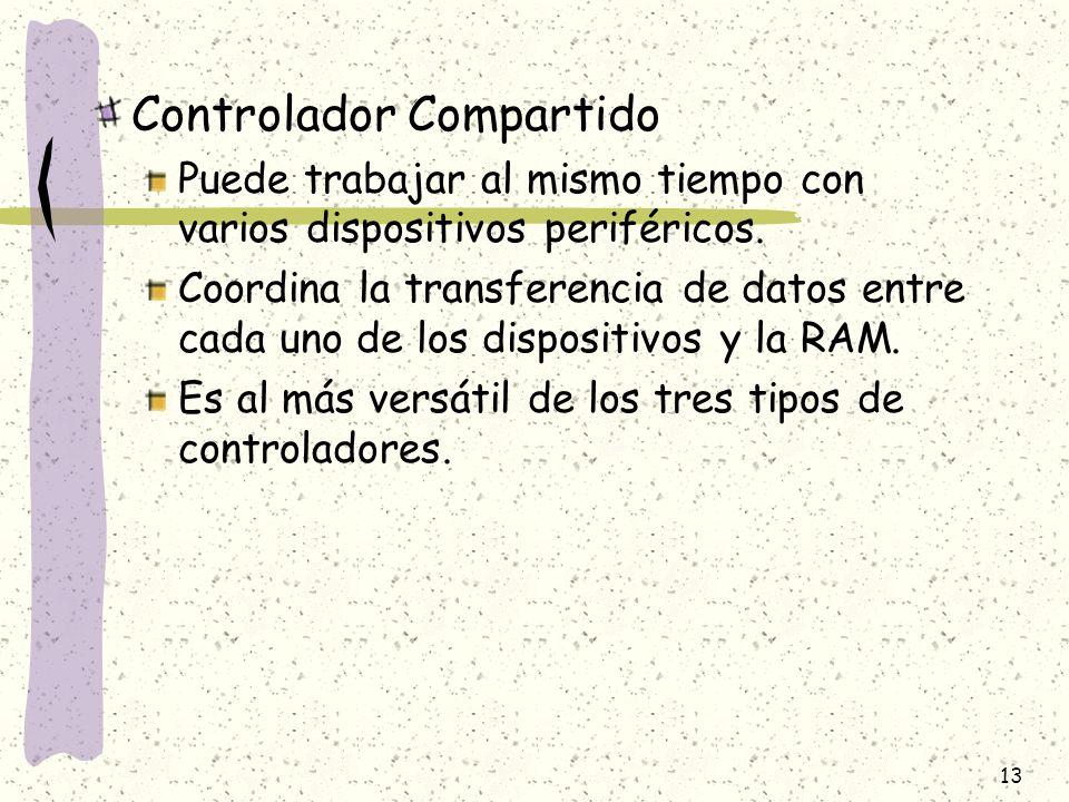 13 Controlador Compartido Puede trabajar al mismo tiempo con varios dispositivos periféricos. Coordina la transferencia de datos entre cada uno de los