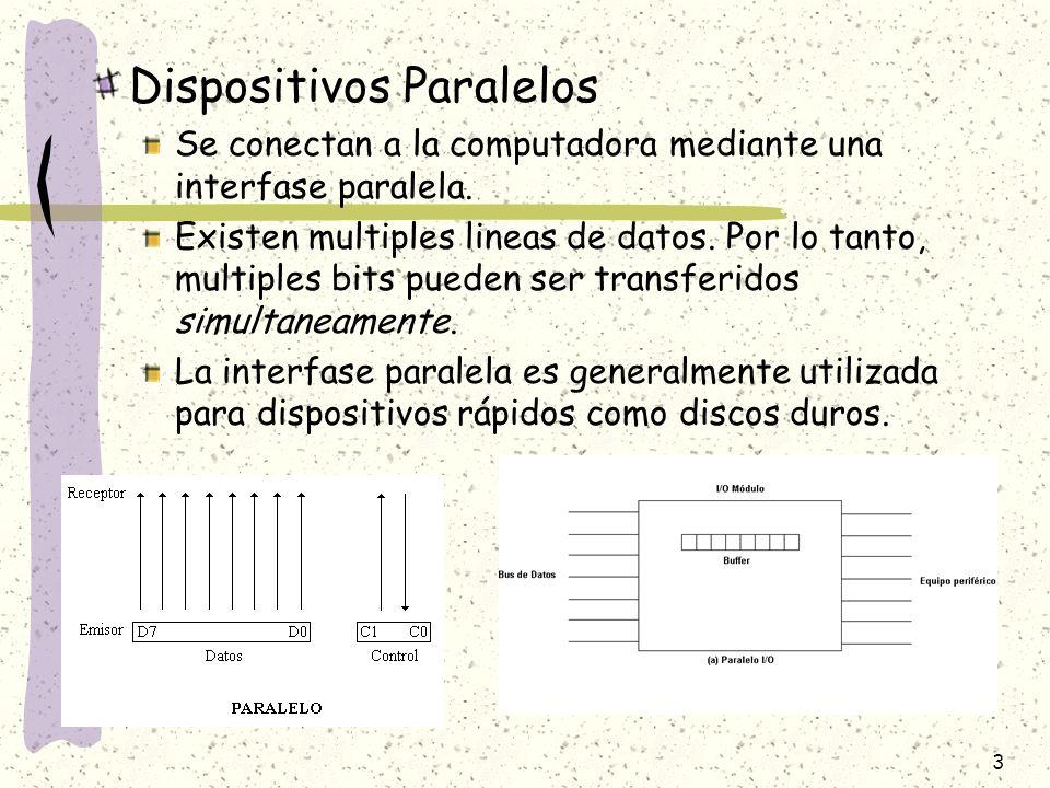 3 Dispositivos Paralelos Se conectan a la computadora mediante una interfase paralela. Existen multiples lineas de datos. Por lo tanto, multiples bits