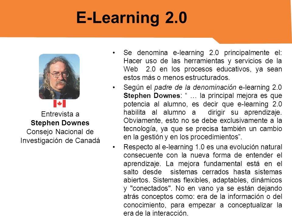 Se denomina e-learning 2.0 principalmente el: Hacer uso de las herramientas y servicios de la Web 2.0 en los procesos educativos, ya sean estos más o
