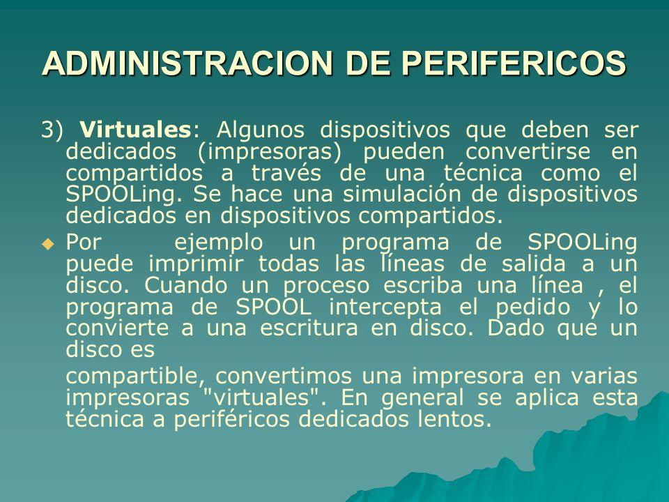 3) Virtuales: Algunos dispositivos que deben ser dedicados (impresoras) pueden convertirse en compartidos a través de una técnica como el SPOOLing. Se