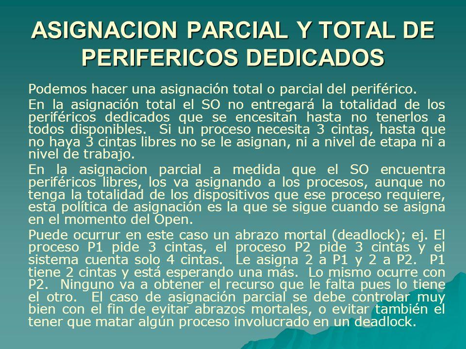 Podemos hacer una asignación total o parcial del periférico. En la asignación total el SO no entregará la totalidad de los periféricos dedicados que s