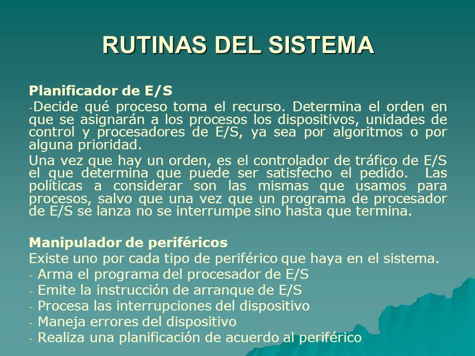 RUTINAS DEL SISTEMA Planificador de E/S - - Decide qué proceso toma el recurso. Determina el orden en que se asignarán a los procesos los dispositivos