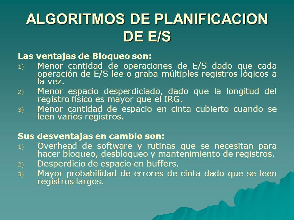 ALGORITMOS DE PLANIFICACION DE E/S Las ventajas de Bloqueo son: 1) 1) Menor cantidad de operaciones de E/S dado que cada operación de E/S lee o graba