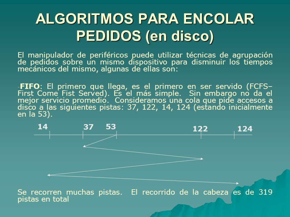 ALGORITMOS PARA ENCOLAR PEDIDOS (en disco) El manipulador de periféricos puede utilizar técnicas de agrupación de pedidos sobre un mismo dispositivo p