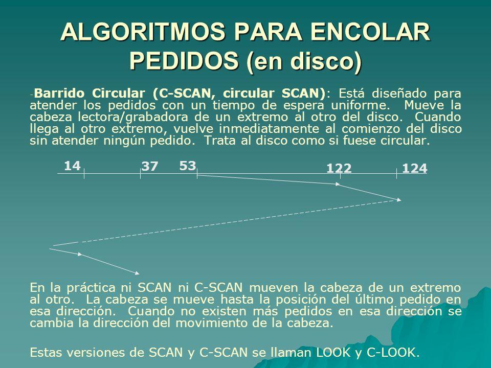 ALGORITMOS PARA ENCOLAR PEDIDOS (en disco) - - Barrido Circular (C-SCAN, circular SCAN): Está diseñado para atender los pedidos con un tiempo de esper