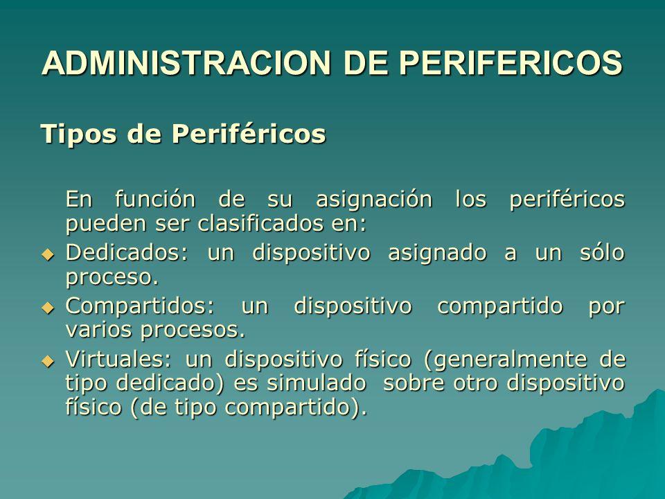 Tipos de Periféricos En función de su asignación los periféricos pueden ser clasificados en: Dedicados: un dispositivo asignado a un sólo proceso. Ded