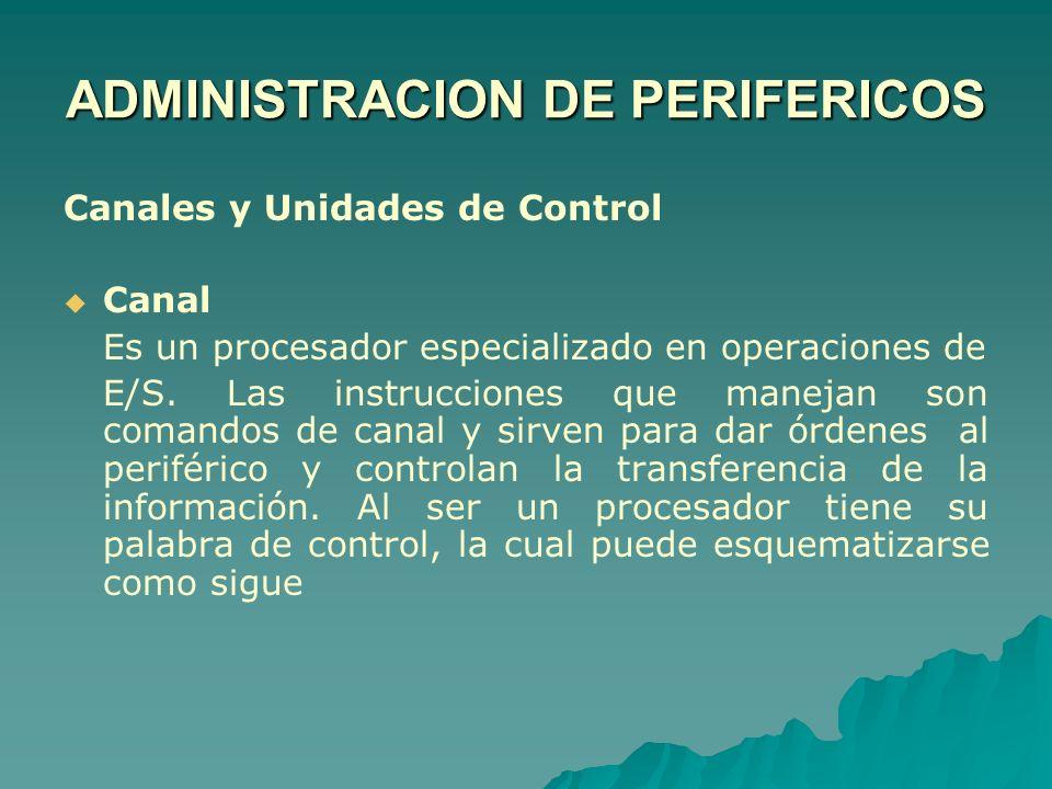 Canales y Unidades de Control Canal Es un procesador especializado en operaciones de E/S. Las instrucciones que manejan son comandos de canal y sirven