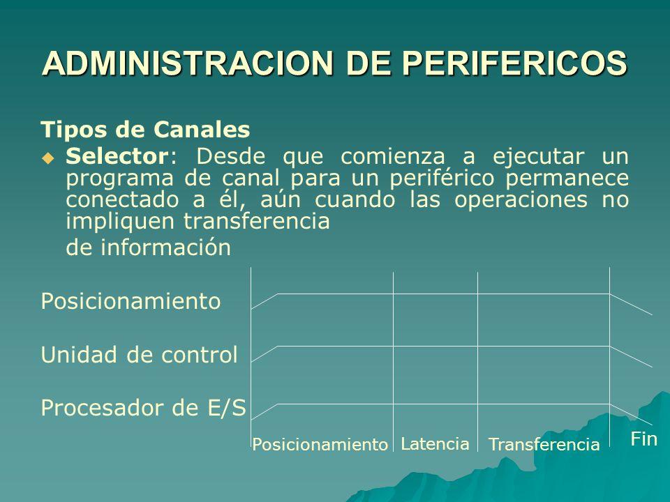 Tipos de Canales Selector: Desde que comienza a ejecutar un programa de canal para un periférico permanece conectado a él, aún cuando las operaciones