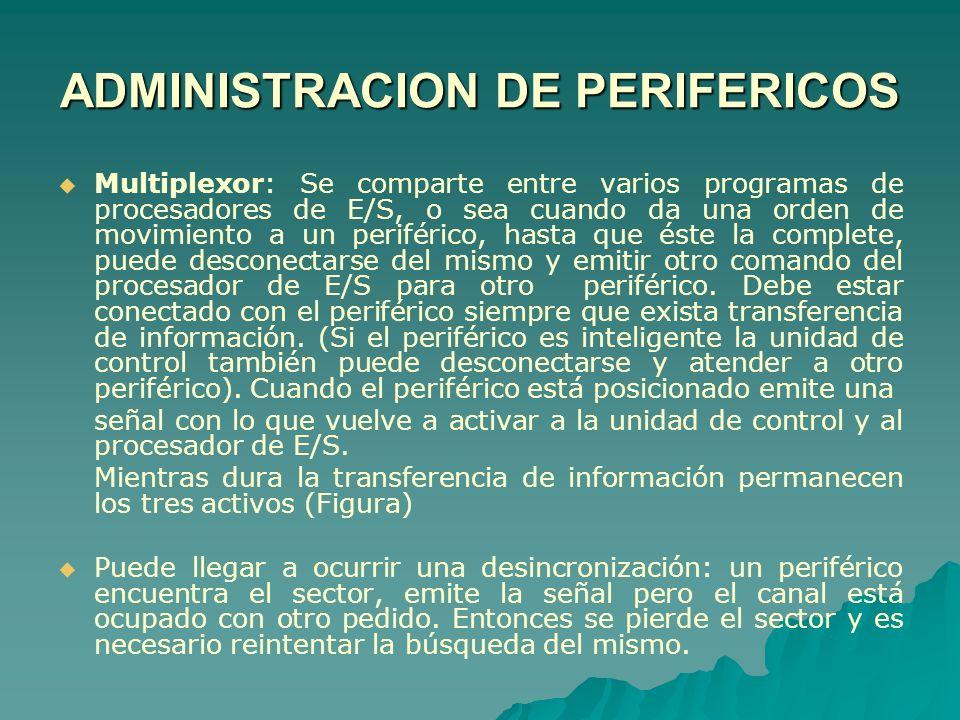Multiplexor: Se comparte entre varios programas de procesadores de E/S, o sea cuando da una orden de movimiento a un periférico, hasta que éste la com