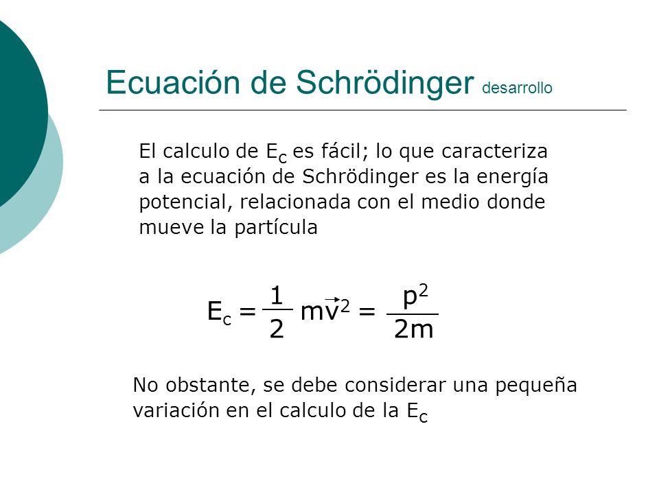 Ecuación de Schrödinger desarrollo El calculo de E c es fácil; lo que caracteriza a la ecuación de Schrödinger es la energía potencial, relacionada co