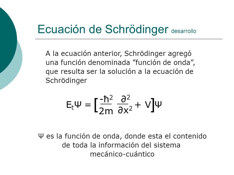 Ecuación de Schrödinger desarrollo A la ecuación anterior, Schrödinger agregó una función denominada función de onda, que resulta ser la solución a la