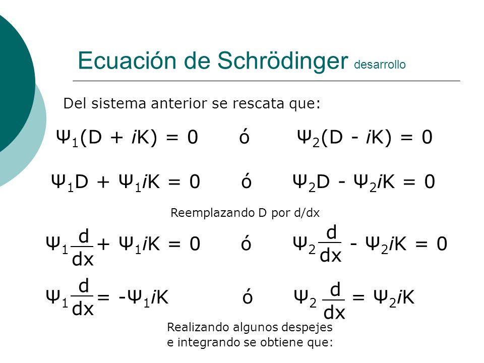 Ecuación de Schrödinger desarrollo Del sistema anterior se rescata que: Ψ 1 (D + iK) = 0 ó Ψ 2 (D - iK) = 0 d dxdx Ψ 1 D + Ψ 1 iK = 0 ó Ψ 2 D - Ψ 2 iK