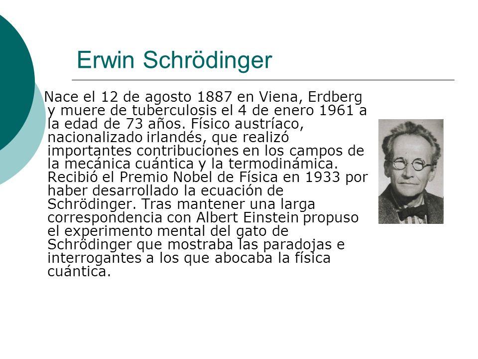 Erwin Schrödinger Nace el 12 de agosto 1887 en Viena, Erdberg y muere de tuberculosis el 4 de enero 1961 a la edad de 73 años. Físico austríaco, nacio