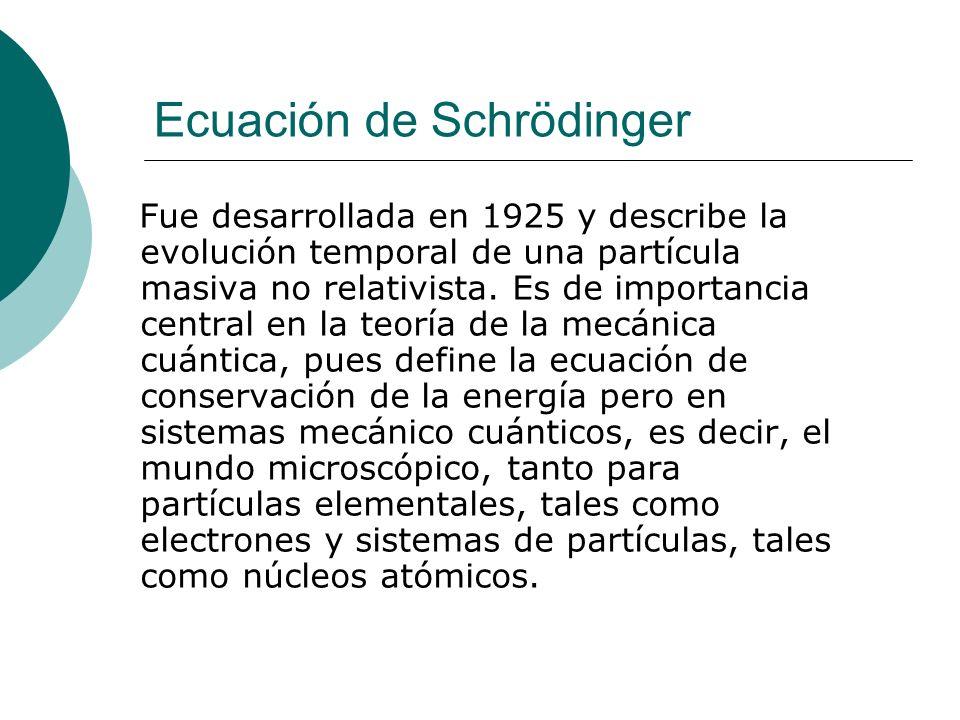 Ecuación de Schrödinger Fue desarrollada en 1925 y describe la evolución temporal de una partícula masiva no relativista. Es de importancia central en