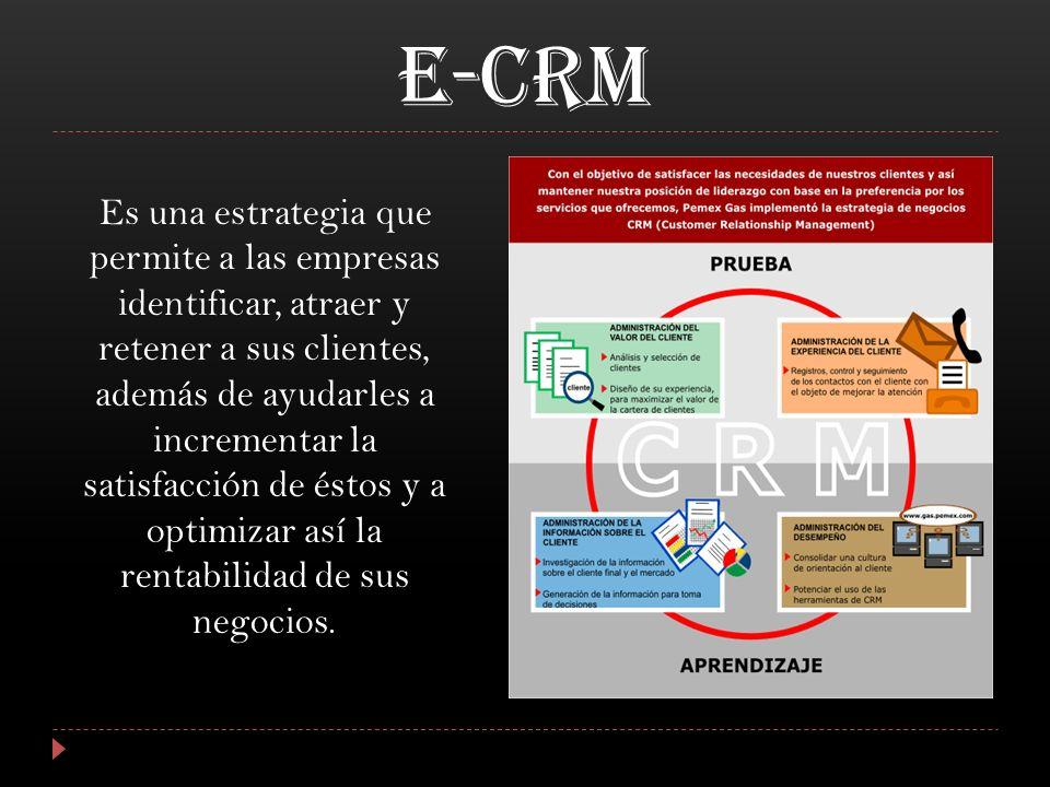 E-CRM Es una estrategia que permite a las empresas identificar, atraer y retener a sus clientes, además de ayudarles a incrementar la satisfacción de