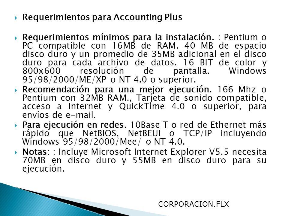 Requerimientos para Accounting Plus Requerimientos mínimos para la instalación. : Pentium o PC compatible con 16MB de RAM. 40 MB de espacio disco duro