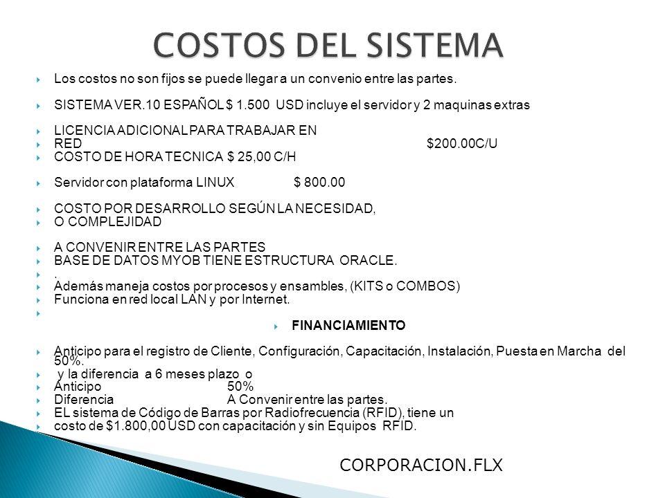 Los costos no son fijos se puede llegar a un convenio entre las partes. SISTEMA VER.10 ESPAÑOL $ 1.500 USD incluye el servidor y 2 maquinas extras LIC
