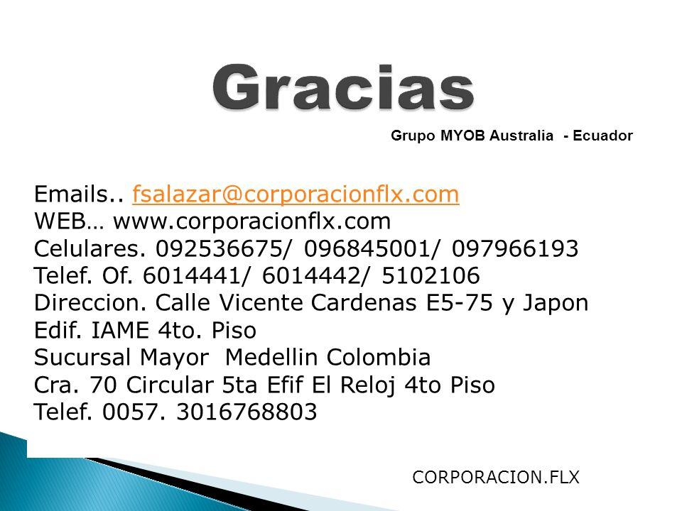 Grupo MYOB Australia - Ecuador Emails.. fsalazar@corporacionflx.comfsalazar@corporacionflx.com WEB… www.corporacionflx.com Celulares. 092536675/ 09684