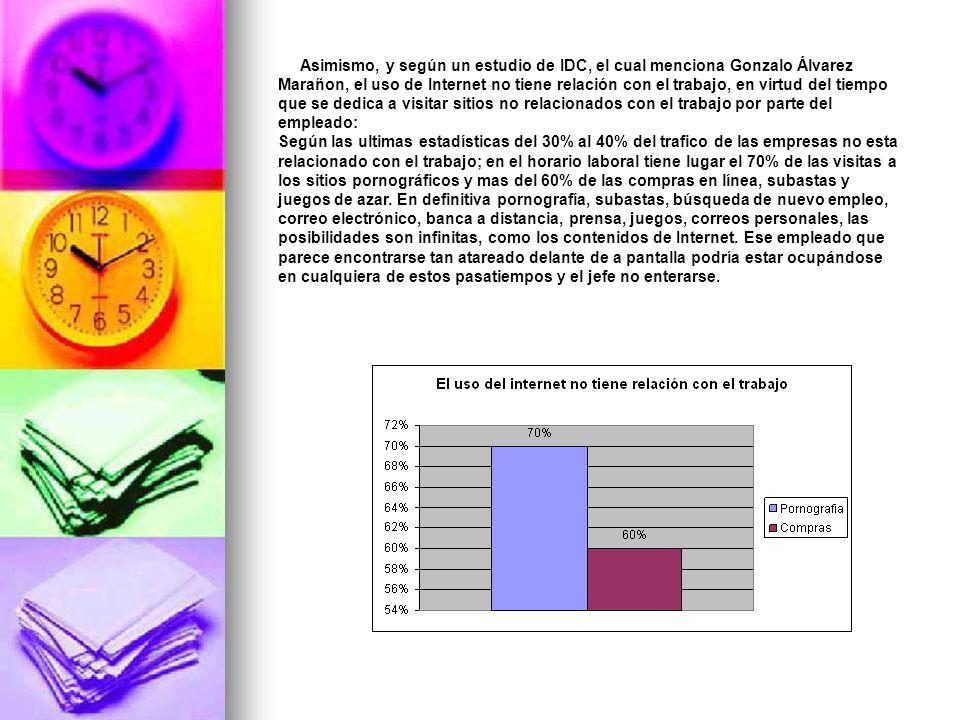 Asimismo, y según un estudio de IDC, el cual menciona Gonzalo Álvarez Marañon, el uso de Internet no tiene relación con el trabajo, en virtud del tiempo que se dedica a visitar sitios no relacionados con el trabajo por parte del empleado: Según las ultimas estadísticas del 30% al 40% del trafico de las empresas no esta relacionado con el trabajo; en el horario laboral tiene lugar el 70% de las visitas a los sitios pornográficos y mas del 60% de las compras en línea, subastas y juegos de azar.
