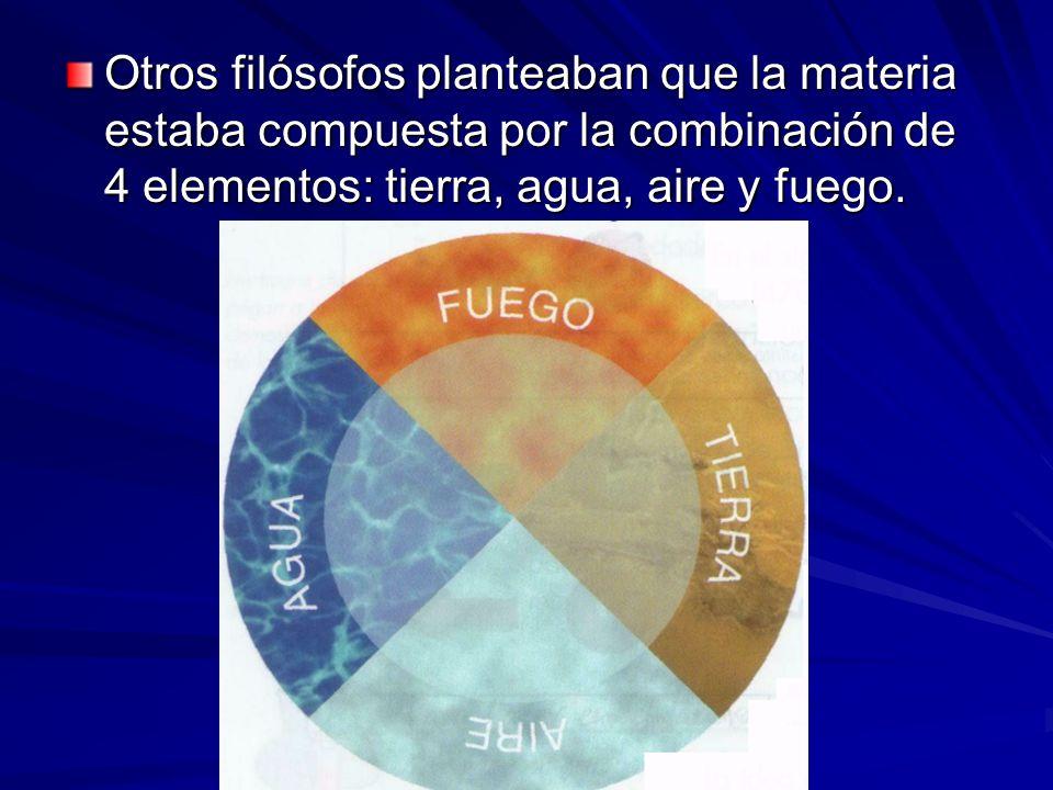 Otros filósofos planteaban que la materia estaba compuesta por la combinación de 4 elementos: tierra, agua, aire y fuego.