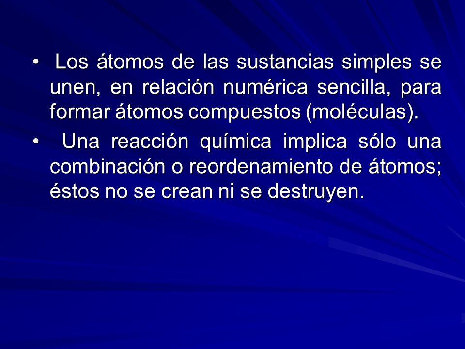 Los átomos de las sustancias simples se unen, en relación numérica sencilla, para formar átomos compuestos (moléculas). Los átomos de las sustancias s