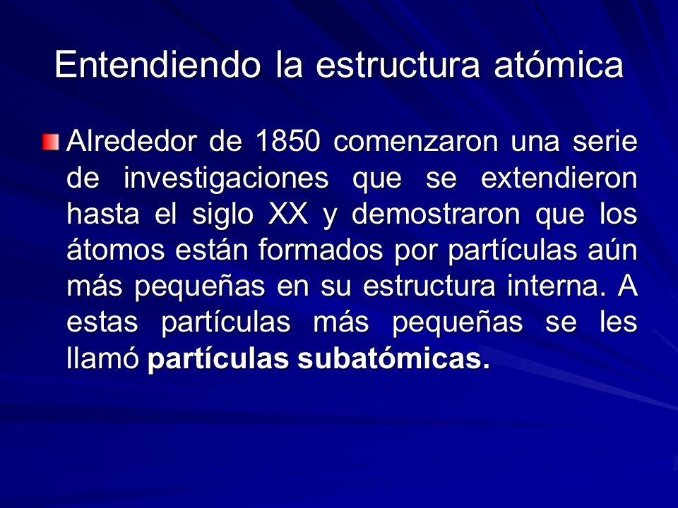 Entendiendo la estructura atómica Alrededor de 1850 comenzaron una serie de investigaciones que se extendieron hasta el siglo XX y demostraron que los