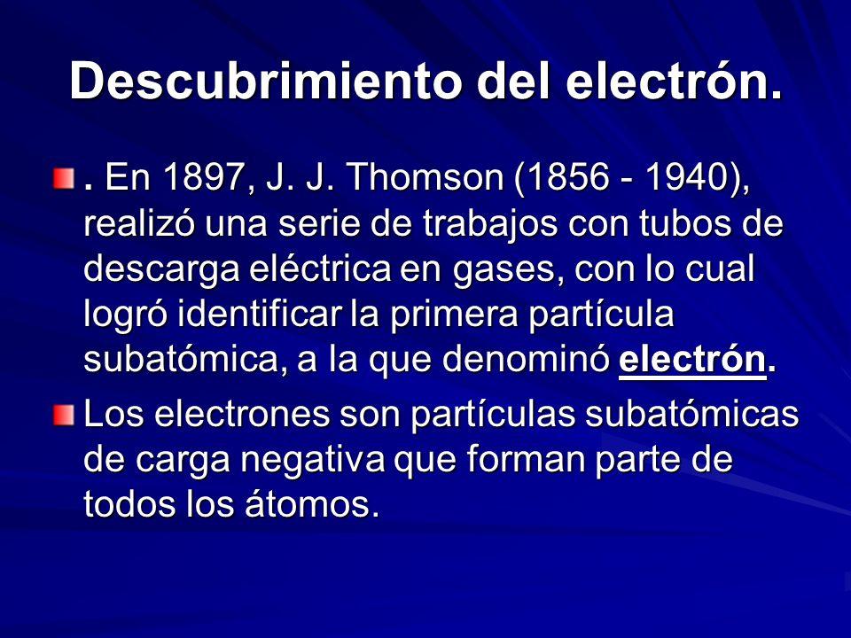 Descubrimiento del electrón.. En 1897, J. J. Thomson (1856 - 1940), realizó una serie de trabajos con tubos de descarga eléctrica en gases, con lo cua