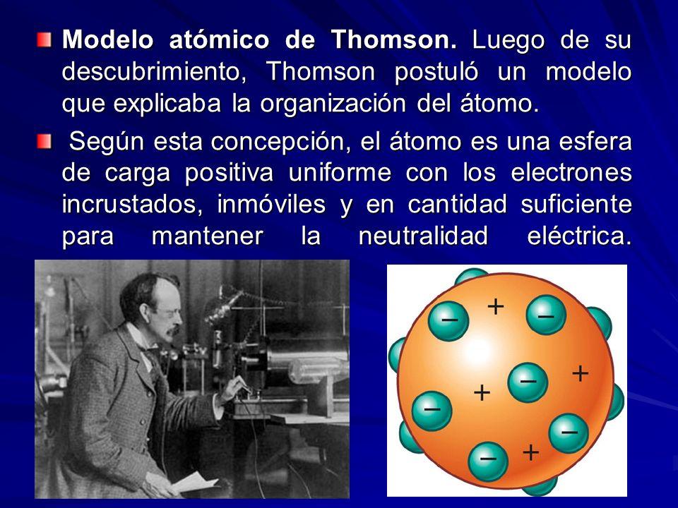 Modelo atómico de Thomson. Luego de su descubrimiento, Thomson postuló un modelo que explicaba la organización del átomo. Según esta concepción, el át