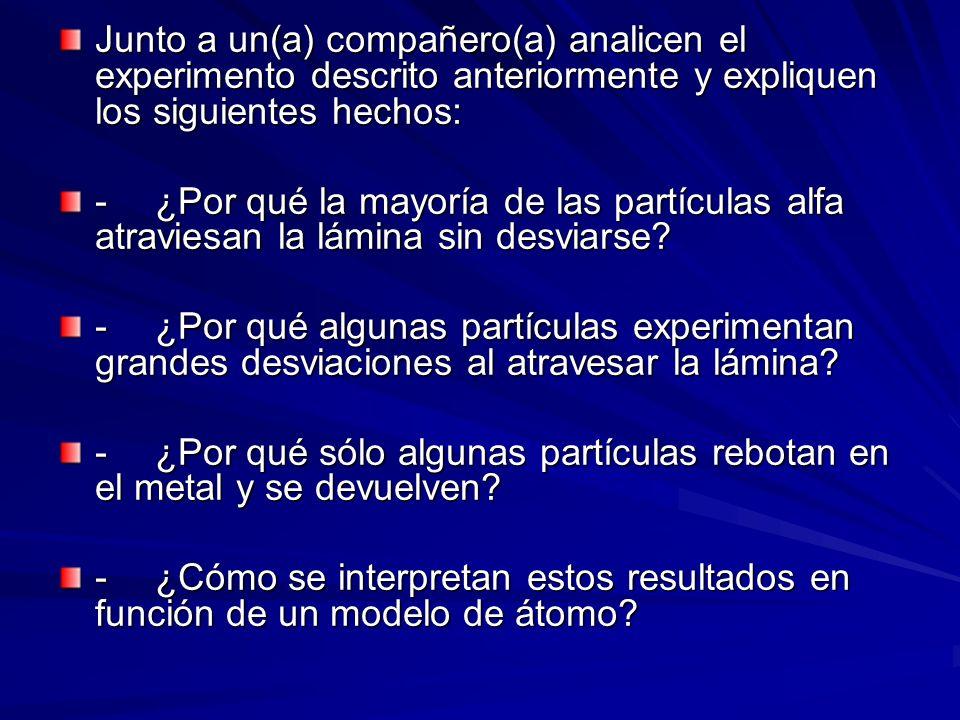 Junto a un(a) compañero(a) analicen el experimento descrito anteriormente y expliquen los siguientes hechos: -¿Por qué la mayoría de las partículas al