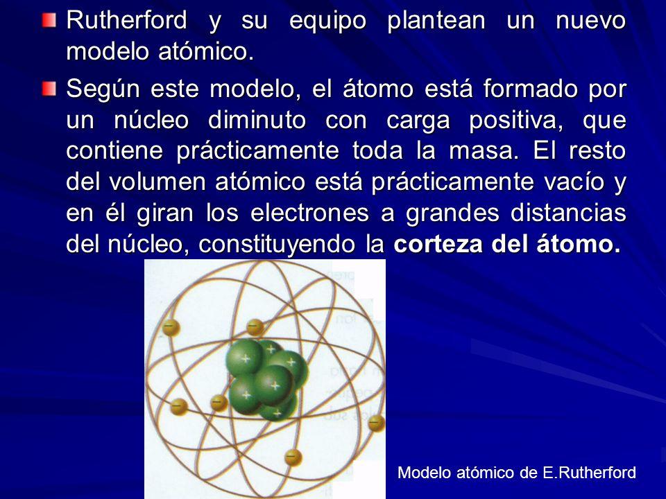 Rutherford y su equipo plantean un nuevo modelo atómico. Según este modelo, el átomo está formado por un núcleo diminuto con carga positiva, que conti