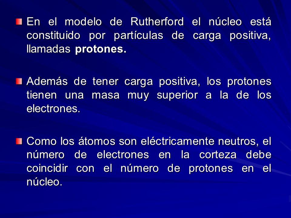 En el modelo de Rutherford el núcleo está constituido por partículas de carga positiva, llamadas protones. Además de tener carga positiva, los protone