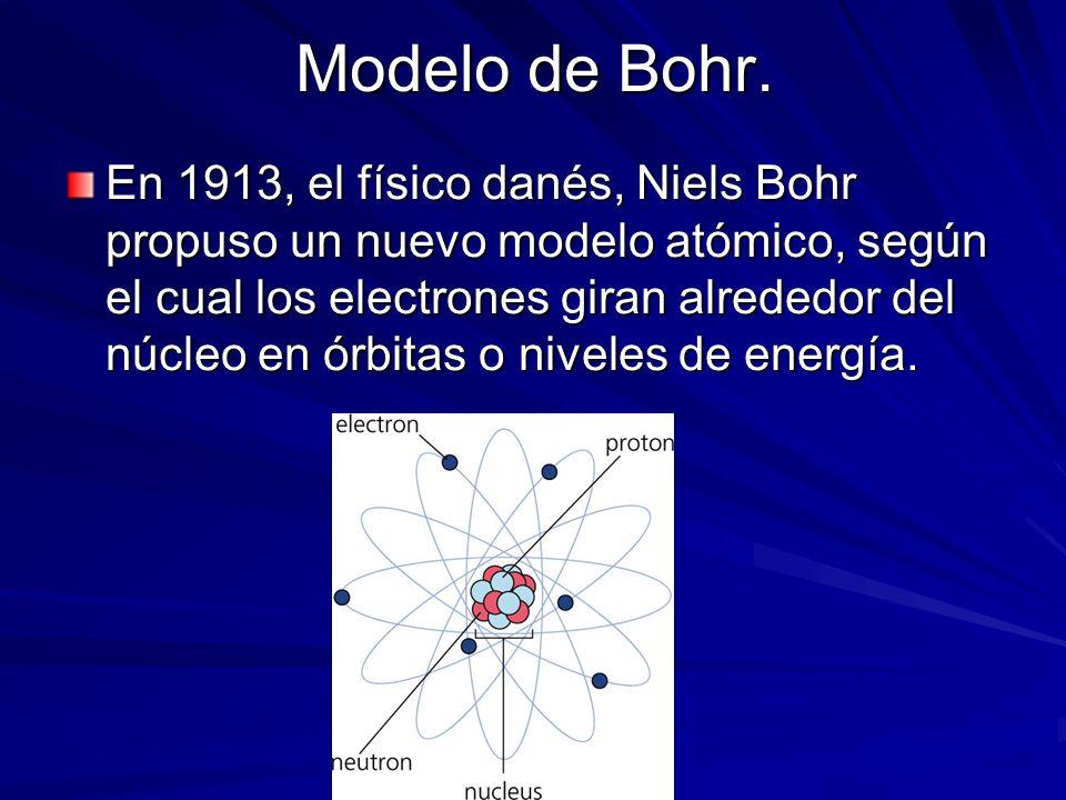 Modelo de Bohr. En 1913, el físico danés, Niels Bohr propuso un nuevo modelo atómico, según el cual los electrones giran alrededor del núcleo en órbit